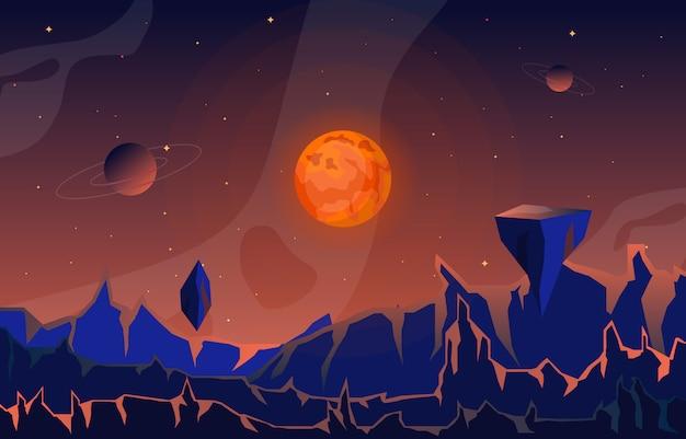 Superfície da paisagem do céu do planeta
