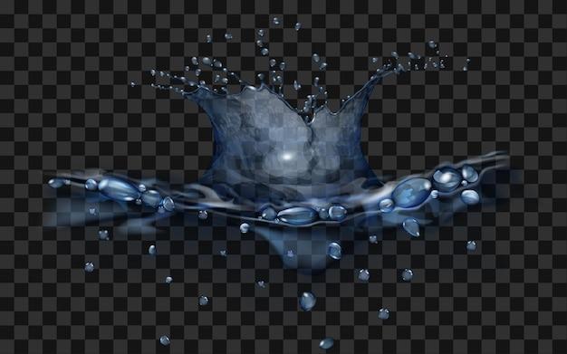 Superfície de água translúcida com coroa e gotas de objeto em queda. respingo nas cores azuis, isolado no pano de fundo transparente. vista lateral. para uso em fundos escuros. transparência apenas em arquivo vetorial