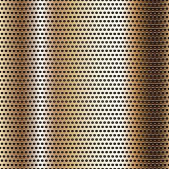 Superfície de metal cromado sem costura, fundo de folha dourada perfurada
