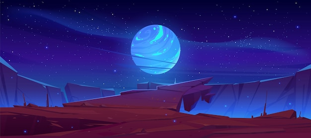 Superfície de planeta alienígena, paisagem futurista com lua brilhante ou satélite acima de um penhasco no céu escuro e estrelado