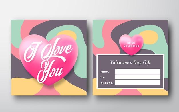 Superfície do cartão-presente de saudação de vetor abstrato de dia dos namorados