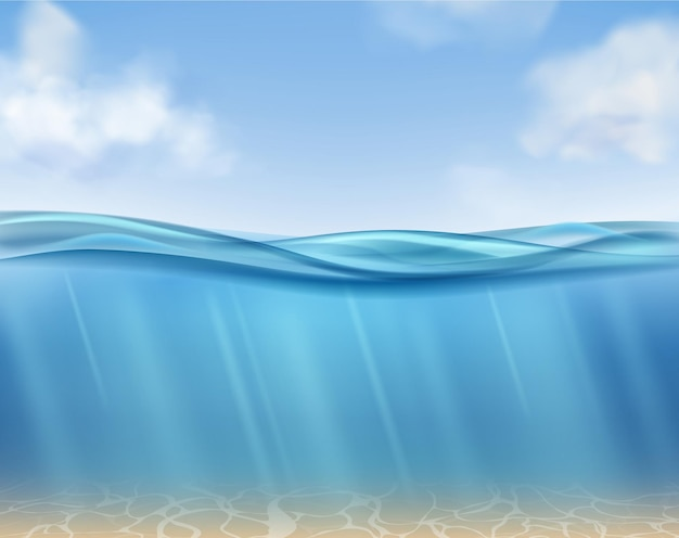 Superfície do oceano com água azul subaquática e raios de sol