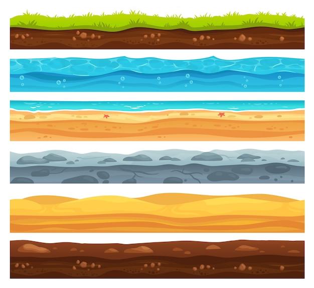 Superfície do solo sem emenda. terra de grama verde, deserto de areia e praia com camadas de água do mar cartum conjunto