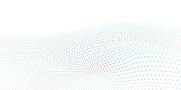 Superfície ondulada abstrata feita de pontos azuis claros em fundo branco