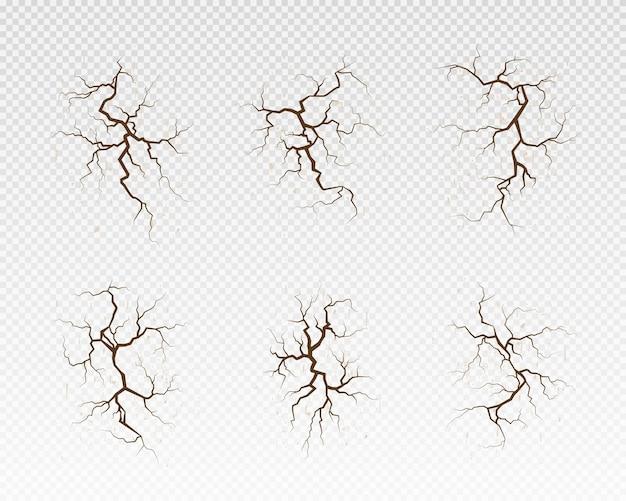 Superfície rachada desenhada à mão definir muitas linhas de terreno rachado para o fundo abstrato