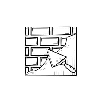 Superfície sólida de tijolo com ícone de doodle de contorno desenhado de mão de espátula. brickwall desenho ilustração vetorial para impressão, web, mobile e infográficos isolados no fundo branco.