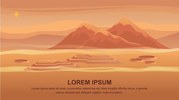Superfície vermelha do planeta da paisagem da montanha do panorama.