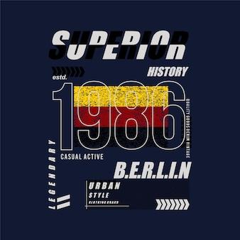 Superior história berlin quadro de texto design gráfico vetorial tipografia camiseta