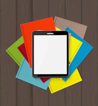 Superioridade e-book sobre ilustração de conceito de livros de papel