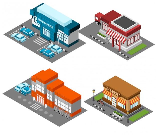 Supermercado armazena o conjunto de ícones isométrica de edifícios