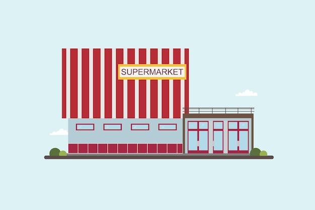 Supermercado baixo edifício vista frontal. ilustração em vetor plana colorida.