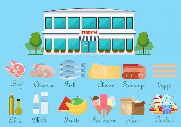 Supermercado com ícones de comida