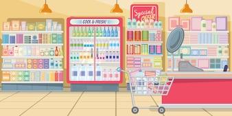 Supermercado com ilustração de prateleiras de comida