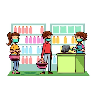 Supermercado coronavirus conceito ilustrado