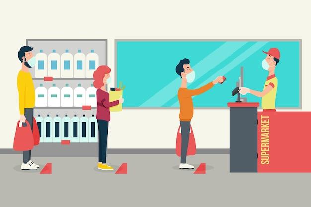 Supermercado coronavirus ilustrado