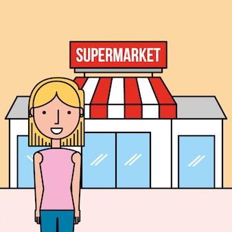 Supermercado de frente de pé de mulher dos desenhos animados
