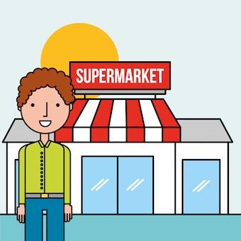 Supermercado de frente do personagem homem em pé