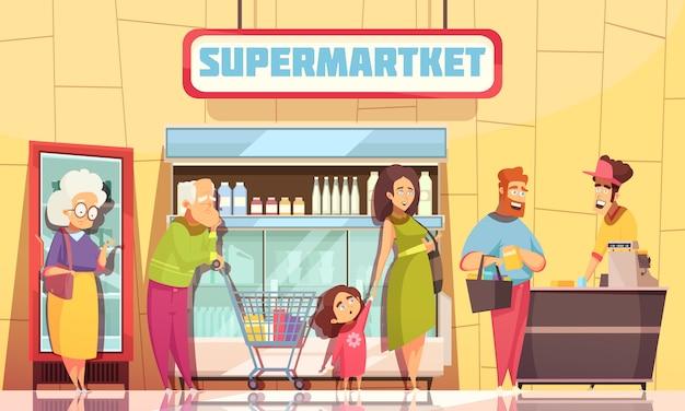 Supermercado de pessoas na fila