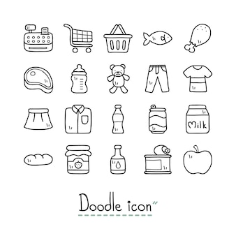 Supermercado. doodle fofo ícones.