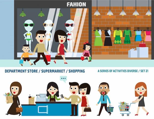 Supermercado e loja de departamentos. conceito de cabeçalho de bandeira de negócios. elementos infográfico.