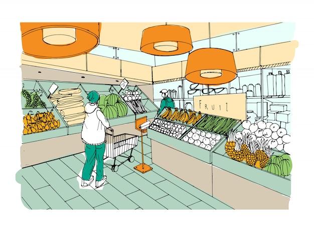 Supermercado interior mão desenhada ilustração colorida. mercearia, departamento de vegetais.