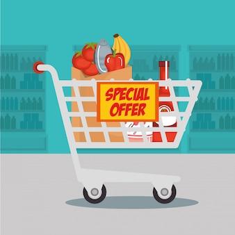 Supermercado mantimentos no carrinho de compras