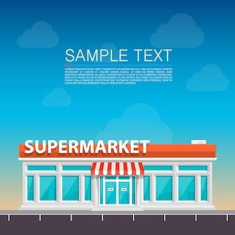 Supermercado na arte à beira da estrada. ilustração vetorial