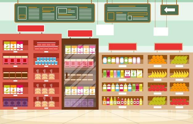 Supermercado prateleira loja varejo loja shopping interior ilustração plana