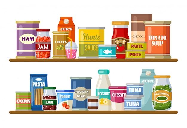 Supermercado, prateleiras com produtos e bebidas