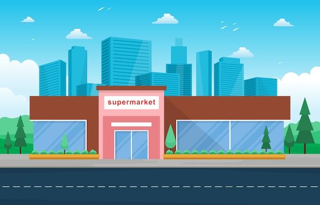 Supermercado supermercado loja varejo shopping cidade edifício ilustração plana