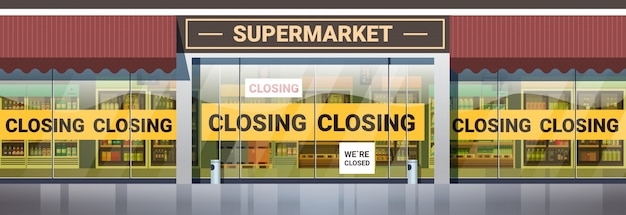 Supermercado vazio com amarelo fechando o conceito de quarentena de pandemia de coronavírus de fita