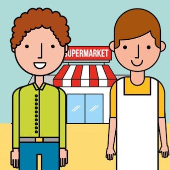 Supermercado vendedor e cliente homem