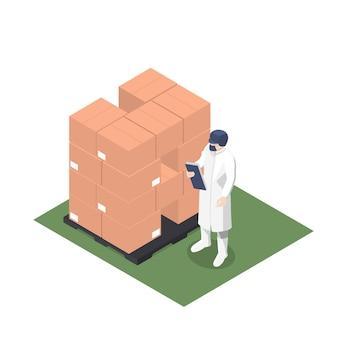 Supervisor de produção revendo palete com caixas paletizadas