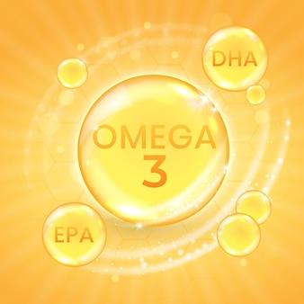 Suplemento de ácido graxo ômega 3, cápsula de vitamina com óleo de peixe brilhante