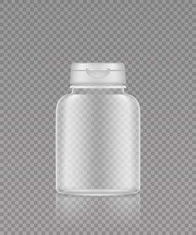 Suplemento de plástico transparente vazio ou maquete de frasco de remédios