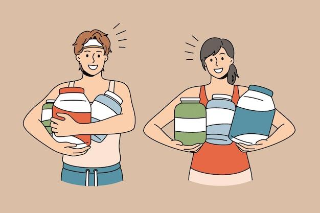 Suplemento dietético e conceito de esporte. jovem casal sorridente em roupas esportivas em pé segurando potes com vitaminas e ilustração vetorial de suplementos dietéticos