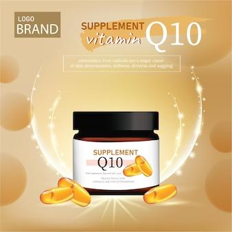 Suplemento nutricional e suplementos vitamínicos em cápsula com remédio de fundo dourado