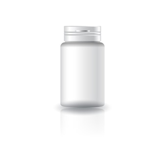 Suplementos de cilindro branco, frasco de remédio com tampa.