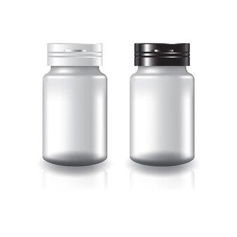 Suplementos redondos brancos ou frasco de medicamento com tampa de tampa preto-branco de duas cores.
