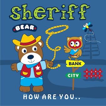 Suportar o xerife engraçado animal dos desenhos animados