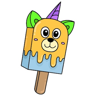 Suportar sorvete de rosto stick com um rosto sorridente feliz, desenho de doodle fofo personagem. ilustração vetorial