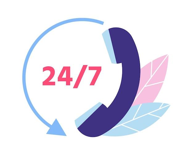 Suporte ao cliente. 24 7 suporte técnico. símbolo de chamada telefônica para consulta de clientes. assistência pessoal e comunicação com o operador da linha direta. fornecendo ajuda para ilustração vetorial de clientes