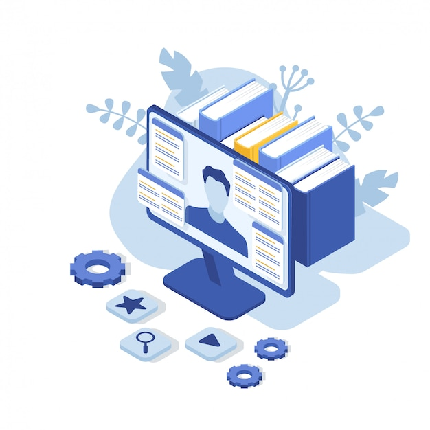 Suporte ao cliente com monitor de computador e homem. contate-nos. perguntas frequentes. ilustração isométrica.