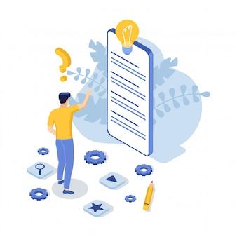 Suporte ao cliente com telefone e homem. contate-nos. perguntas frequentes. ilustração isométrica.