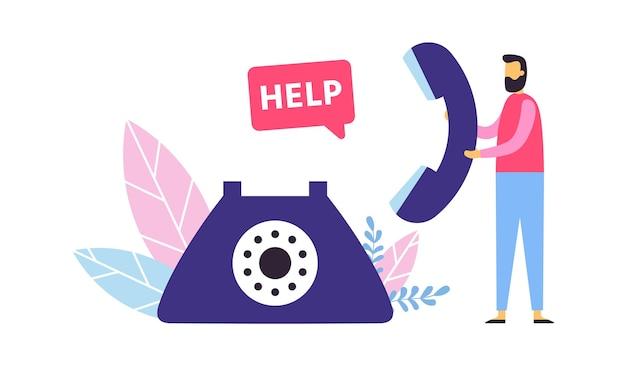 Suporte ao cliente. conceito de call center. operador homem segurando telefone fixo para fornecer ajuda aos clientes. atendimento pessoal e agente de linha direta. ilustração vetorial de comunicação e consultoria