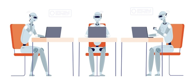 Suporte ao cliente do chatbot. robô moderno conversando, serviço de bot ou linha direta. tecnologia inteligente em negócios, ilustração em vetor operador ciborgue. chatbot de suporte de serviço, conversa online