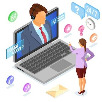 Suporte ao cliente online com consultor man