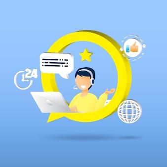 Suporte ao cliente. serviço de assistente pessoal