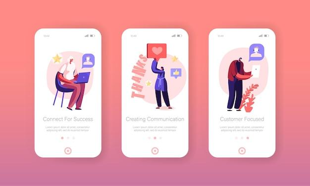 Suporte ao conjunto de tela onboard da página do aplicativo móvel dos clientes.