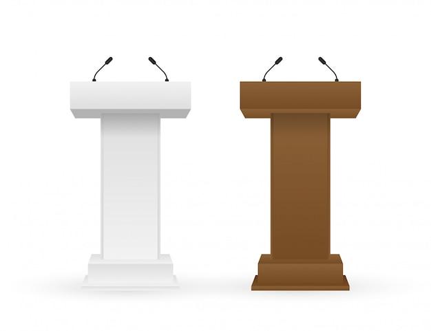 Suporte branco e marrom da tribuna do tribuno do pódio com microfones.